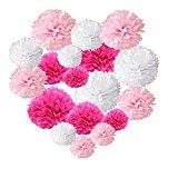 ペーパーフラワー フラワーポンポン 18個セット パーティー 結婚式 誕生日 飾り付け 紙花 ミックスカラー (ピンク系)
