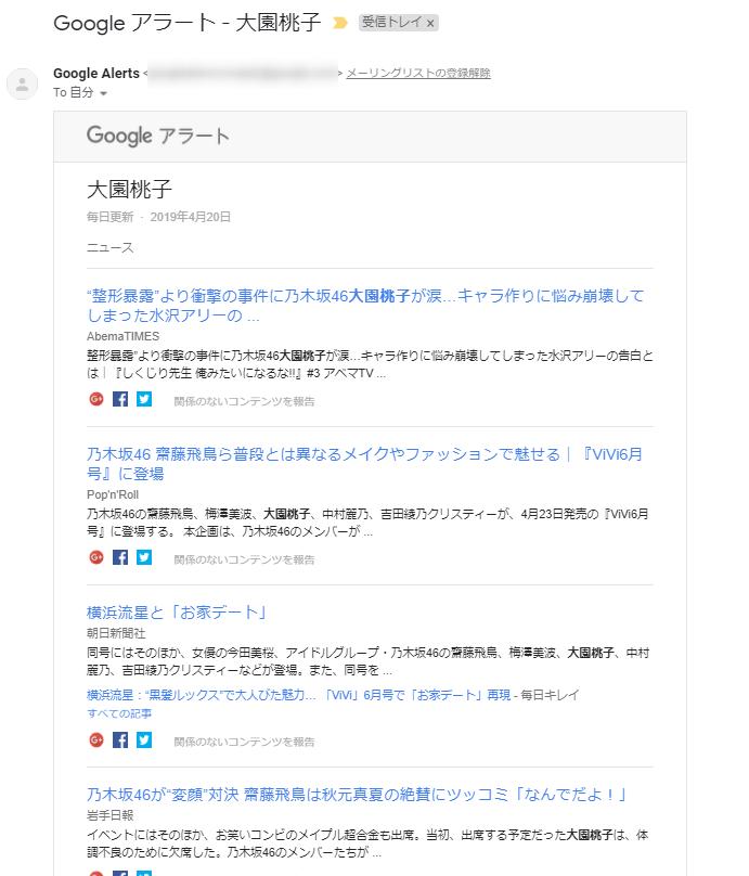 Googleアラートで受信した大園桃子さんのニュースメール