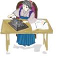 はてなハイカーさん、手回し計算機使ってる袴女子のイラスト欲しい!