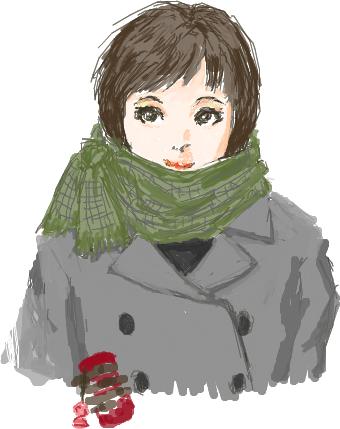 はてなハイカーさん、冬だしマフラーにアゴをうずめた子のイラスト欲