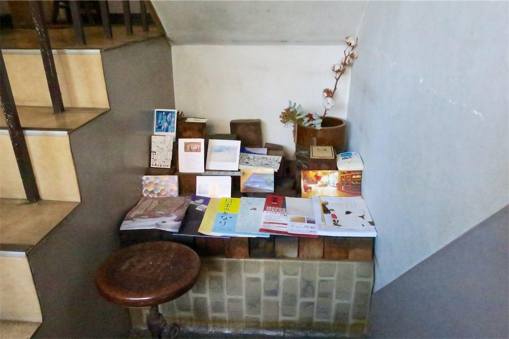 橙書店のビル 階段途中のフリーペーパーコーナー
