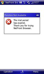 また、NetFrontの試用期限切れ