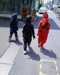 伊賀上野:ちびっこ忍者3人