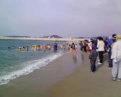 新春初泳ぎ(田辺市扇が浜)