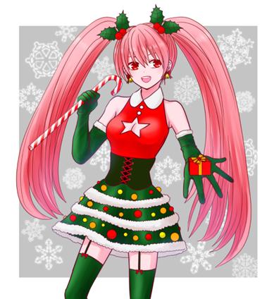 クリスマスのオリジナルキャラクターデザイン女の子のイラスト