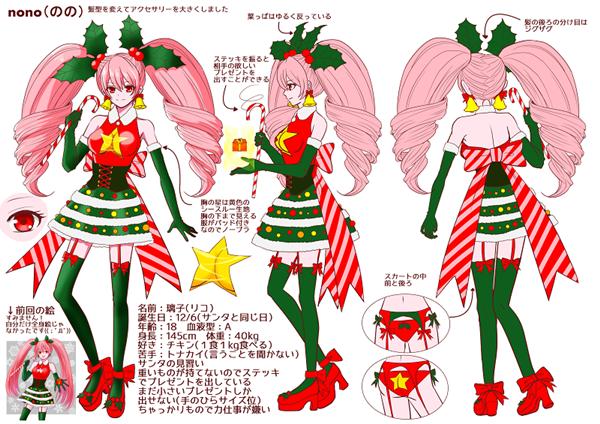 三面図のオリジナルキャラクターイラスト女性