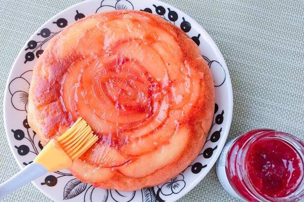 薔薇りんごケーキレシピ仕上げ