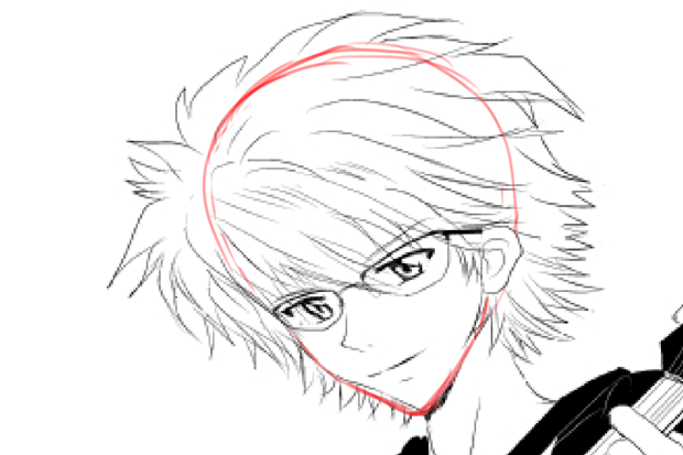 頭蓋骨を意識して髪の毛の描き方
