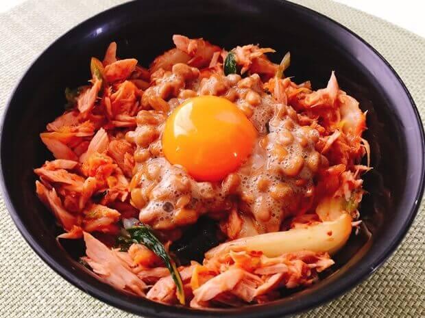 簡単ツナキムチ納豆丼レシピ