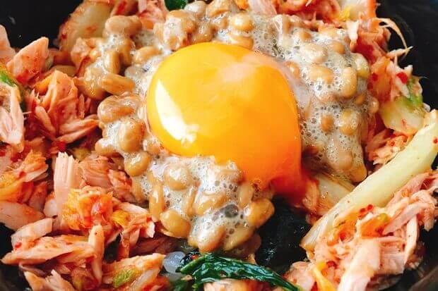 ツナキムチ納豆丼レシピ
