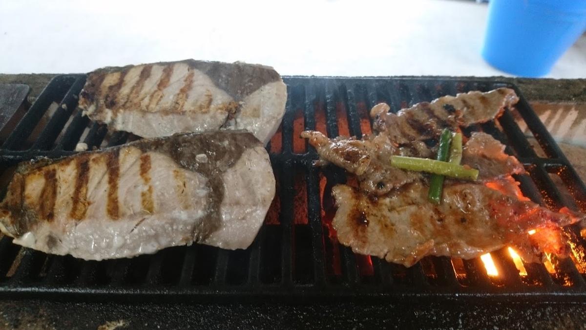 ブリの塩焼きと牛肉&ニンニクの芽