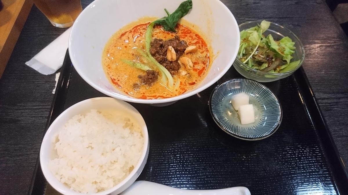 担々麺定食@中国四川麺飯店 一燈2020年9月16日