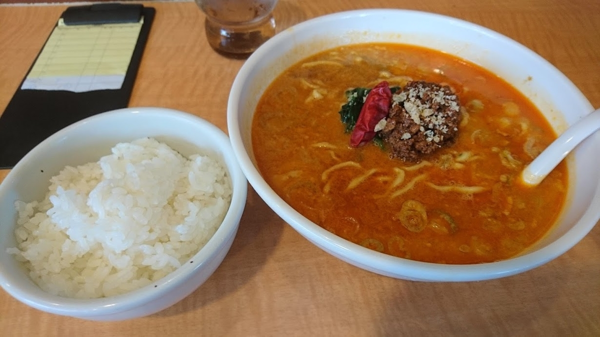 担々麺7度と小ライス@ラーメンどんき本店2020年10月3日