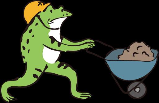 工事現場のカエル