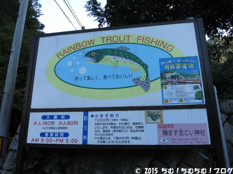 にじます釣りの看板
