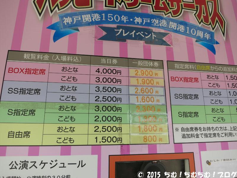 ハッピードリームサーカス神戸公演の料金表