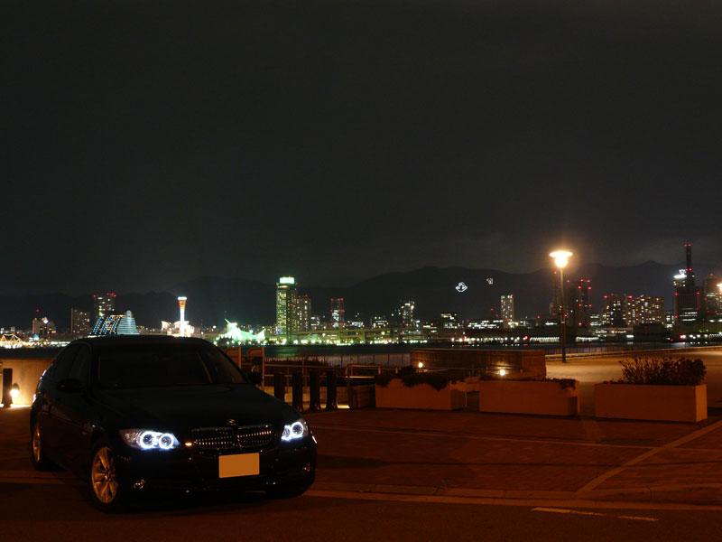 神戸の夜景とBMW