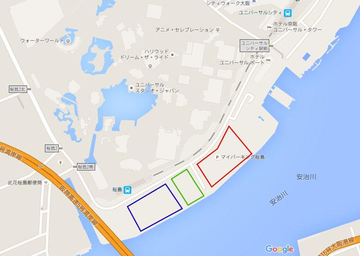 USJ周辺の駐車場の地図