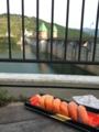 ダムと寿司(鮭)