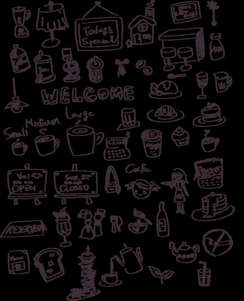 おしゃれカフェグッズ盛りだくさん!手書き風イラスト50個つくってみた