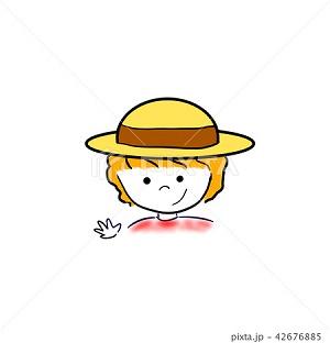 麦わら帽子の女の子 イラスト素材 季節の風景 写真イラスト素材