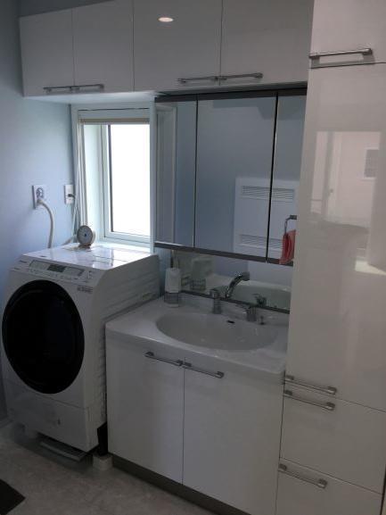 脱衣洗面所、乾燥機能付き洗濯機