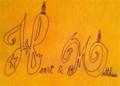 テーブルに落書きしたアンリ&マチューのロゴ