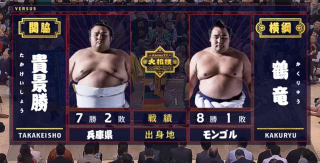 貴景勝vs鶴竜