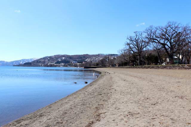 とうや水の駅 湖畔 砂浜