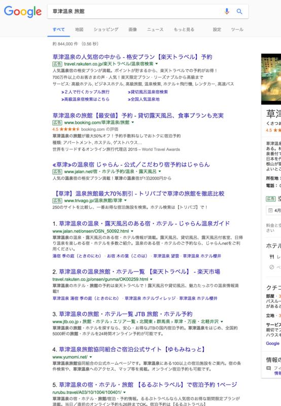 旅行系キーワードでは予約サイトが検索結果の上位を独占