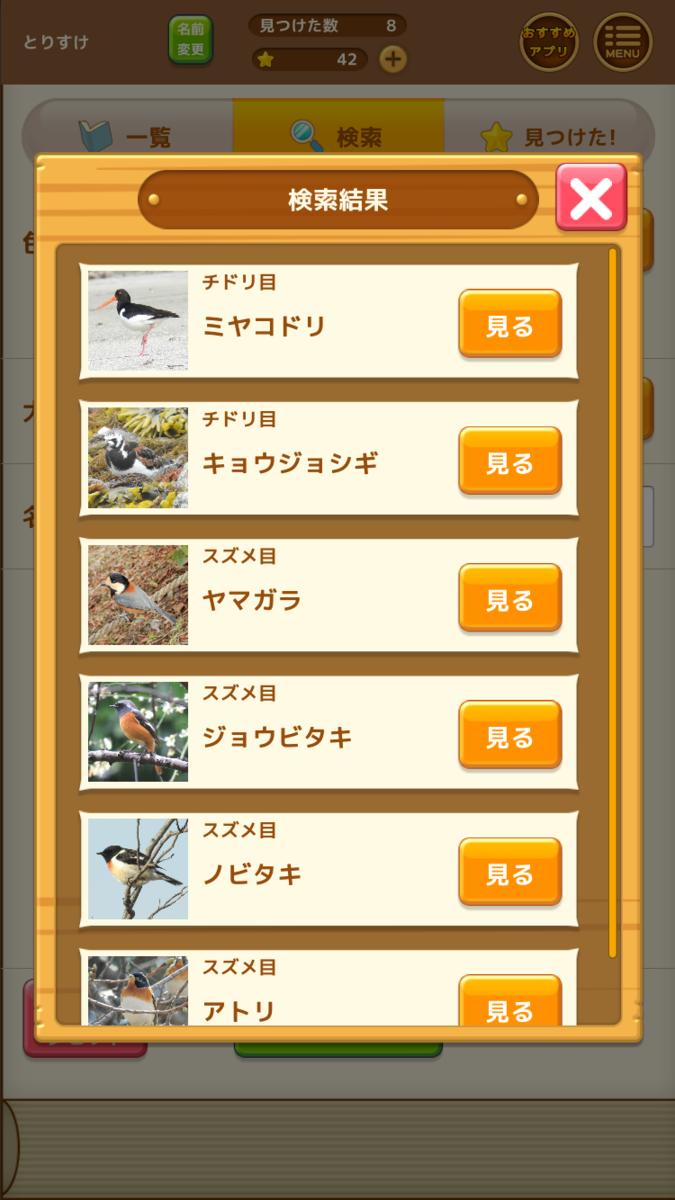 見つけた!野鳥図鑑 検索結果