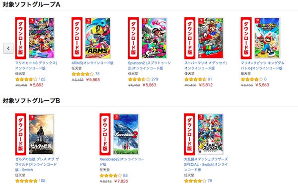 「Nintendo Switch ダウンロード版ソフトが2本セットでお買い得」キャンペーン対象ソフトの画像