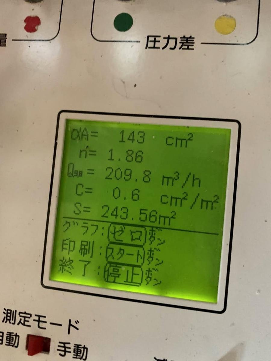 気密測定 測定結果 C値 0.6