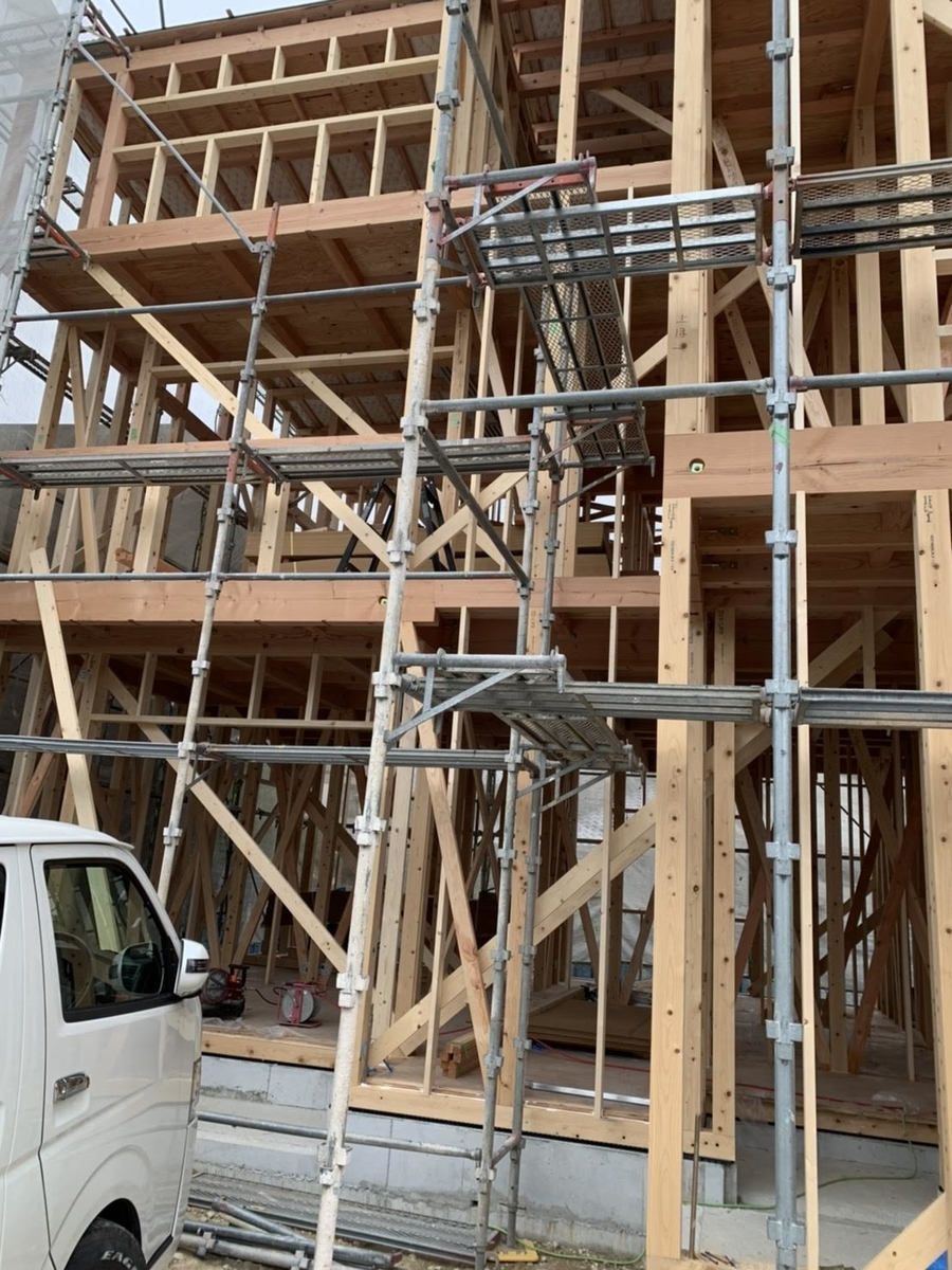 木造 3階 2世帯 工事 上棟 略式