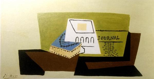 《新聞とグラスとタバコの箱》ピカソ 1921