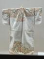 縫箔 白地雪持柳扇面肩裾模様