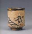 絵唐津人物文筒茶碗