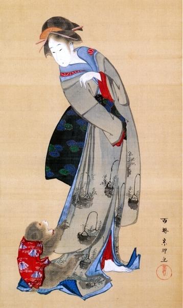 ≪娘と猿図≫菱川宗理