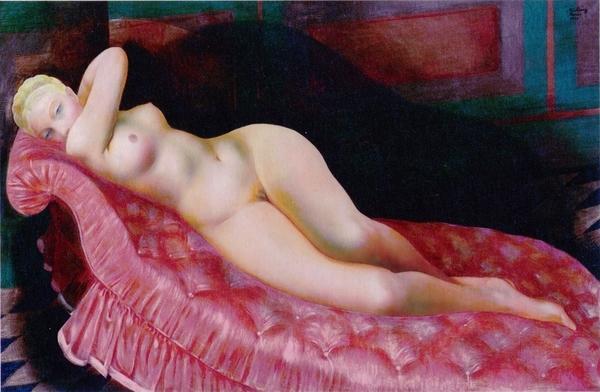 《赤い長椅子の裸婦》キスリング
