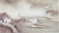 雪村《柳鷺図》
