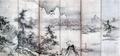 伝 周文≪四季山水図屏風≫左隻