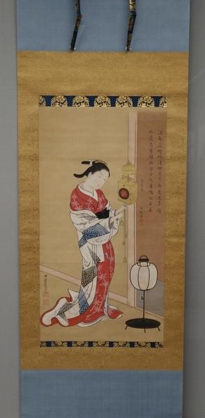 西川祐信《柱時計と美人図》