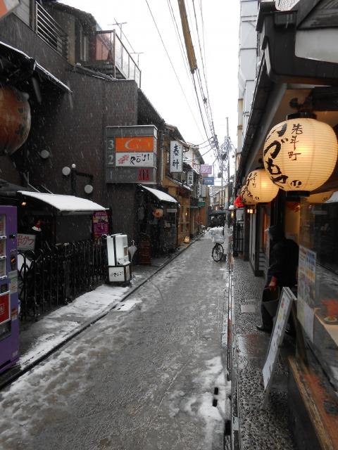 京都 雪 先斗町