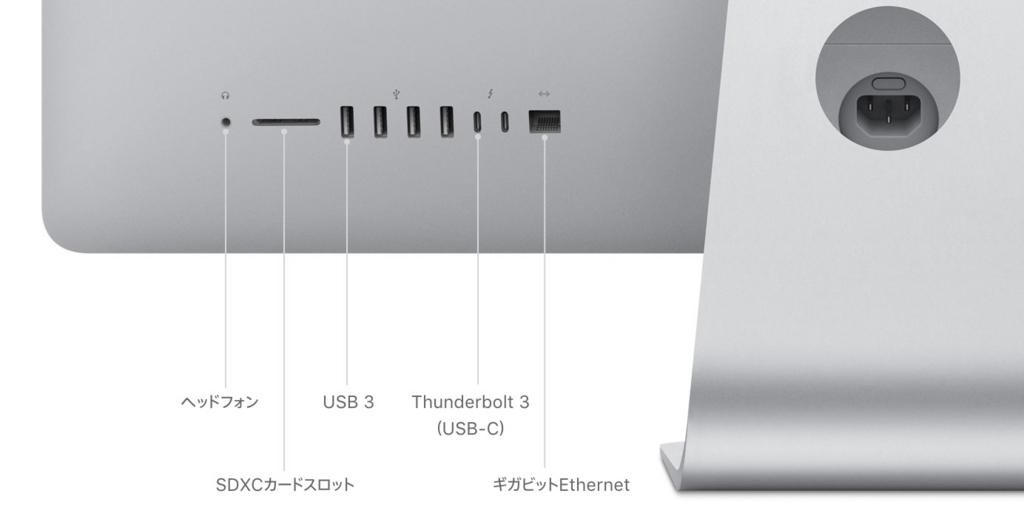 USBのポートが背面