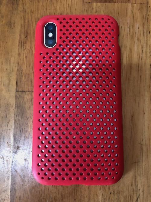 AndMesh iPhone X ケース メッシュケース Qi 充電 対応 赤 レッド