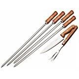 TRAMONTINA シュラスコ用 バーベキュー道具6点セット(スキュアー4本、ナイフ、カービングフォーク)