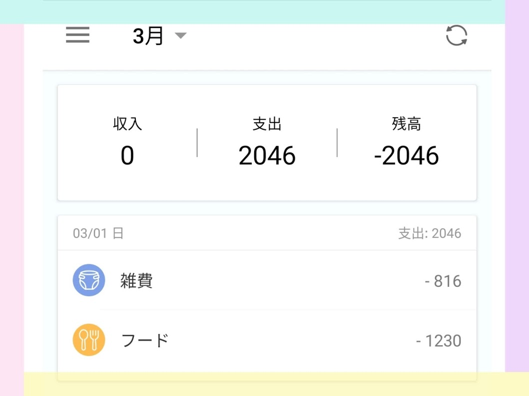 【Money Manager】トップ画面