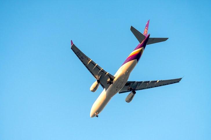 青空を横切るタイ国際航空の旅客機