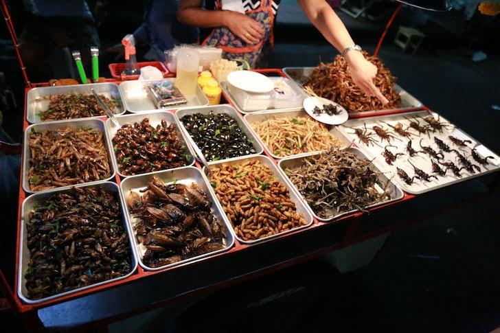 バンコクのカオサン通りにある虫の油揚げの屋台