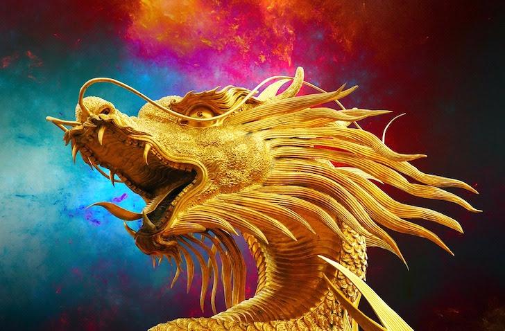 横を向いた金色の竜